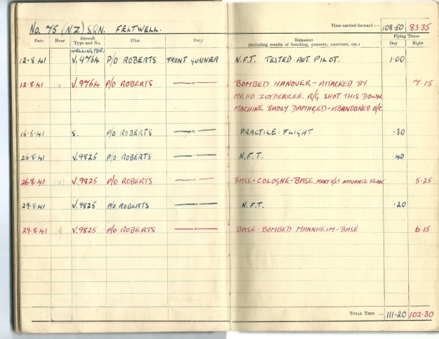0009 Flight log Aug 1941 p4