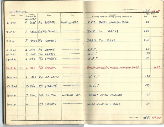 0013 Flight log Oct 1941