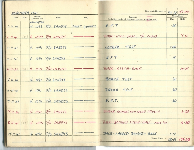 0015 Flight log Nov 1941