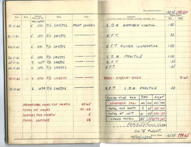 0016 Flight log Nov 1941 p2