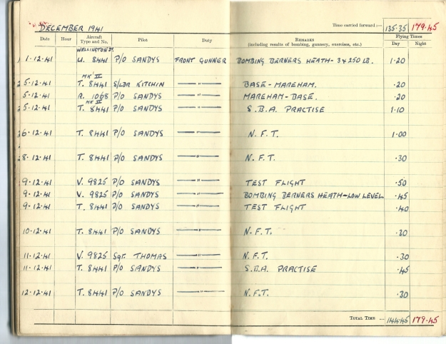 0017 Flight log Dec 1941