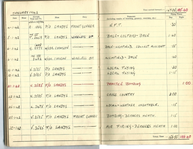 0019 Flight log Jan 1942
