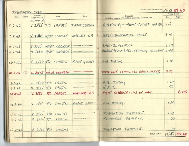 0021 Flight log Feb 1942