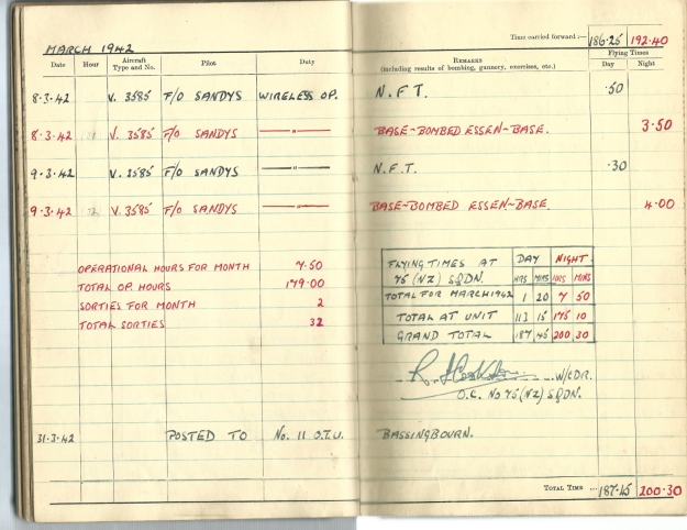 0023 Flight log Mar 1942