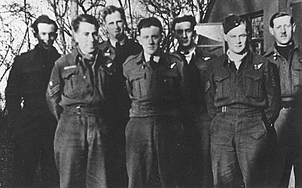 The Jarvis crew. Back row left to right: Alan Kay( Air Bomber), Allister Ferguson (Mid Upper Gunner), William Willis (Pilot), Stanley Hancock (Wireless Operator). Front row left to right: William Reid, (Rear Gunner), Donald Rimmer (Flight Engineer), Russell Brown (Navigator). Crew photo supplied by the family of Billy Reid