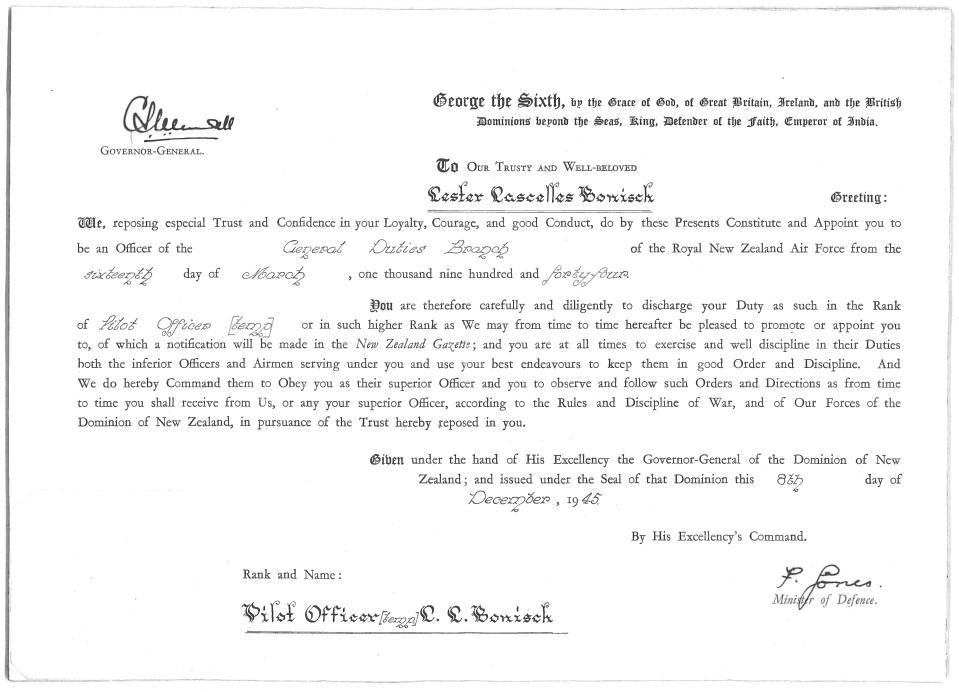 lester-lascelles-bonisch-commission-as-pilot-officer-nz-archives