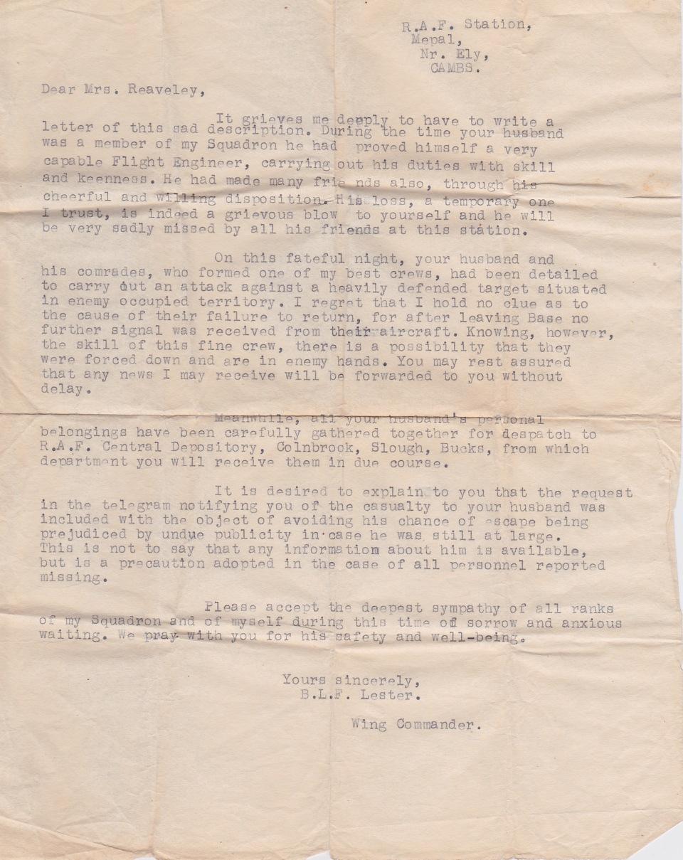 letter-from-blf-lester-wing-commander-to-lillian-reaveley
