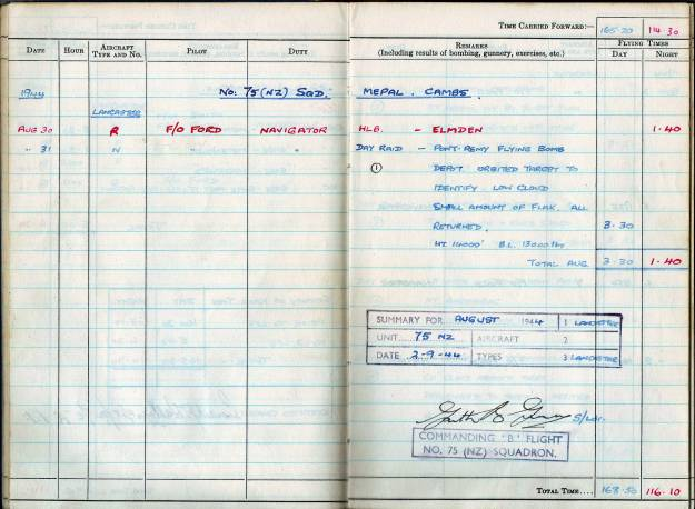 RC Weeden - Logbook - MEPAL Page 01 (Mission 1)