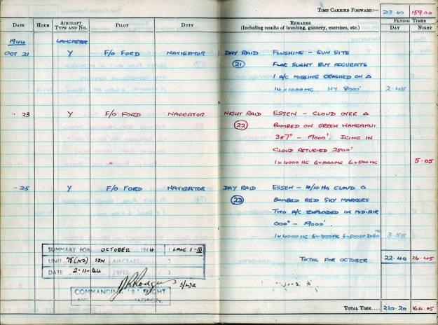 RC Weeden - Logbook - MEPAL Page 07 (Missions 21-23)