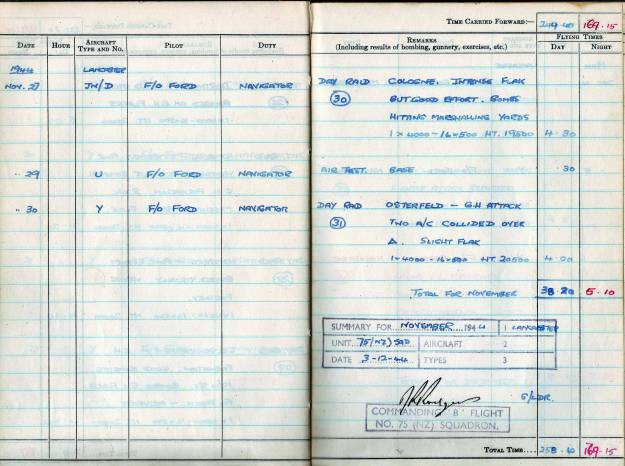 RC Weeden - Logbook - MEPAL Page 10 (Missions 30-31)